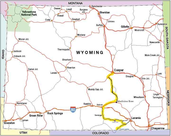 Snowy Range Wyoming Map.Snowy Range Ride